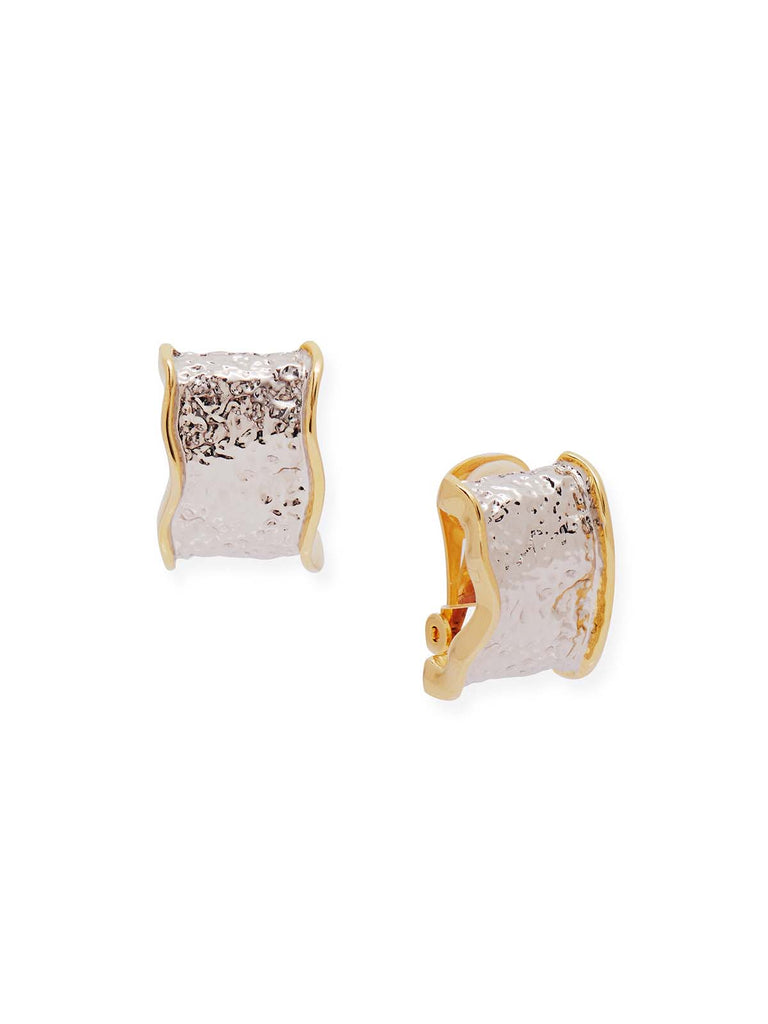 Hammered Silver Trimmed with Gold Clip Earrings-Misook