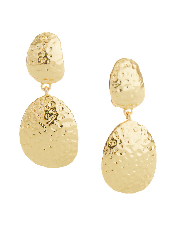 Hammered Two-Tier Gold Drop Clip Earrings | Nickle-Free Jewelry | Misook