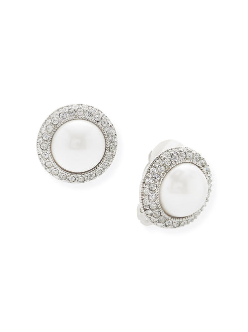 Pearl with Crystal Border Clip Earrings