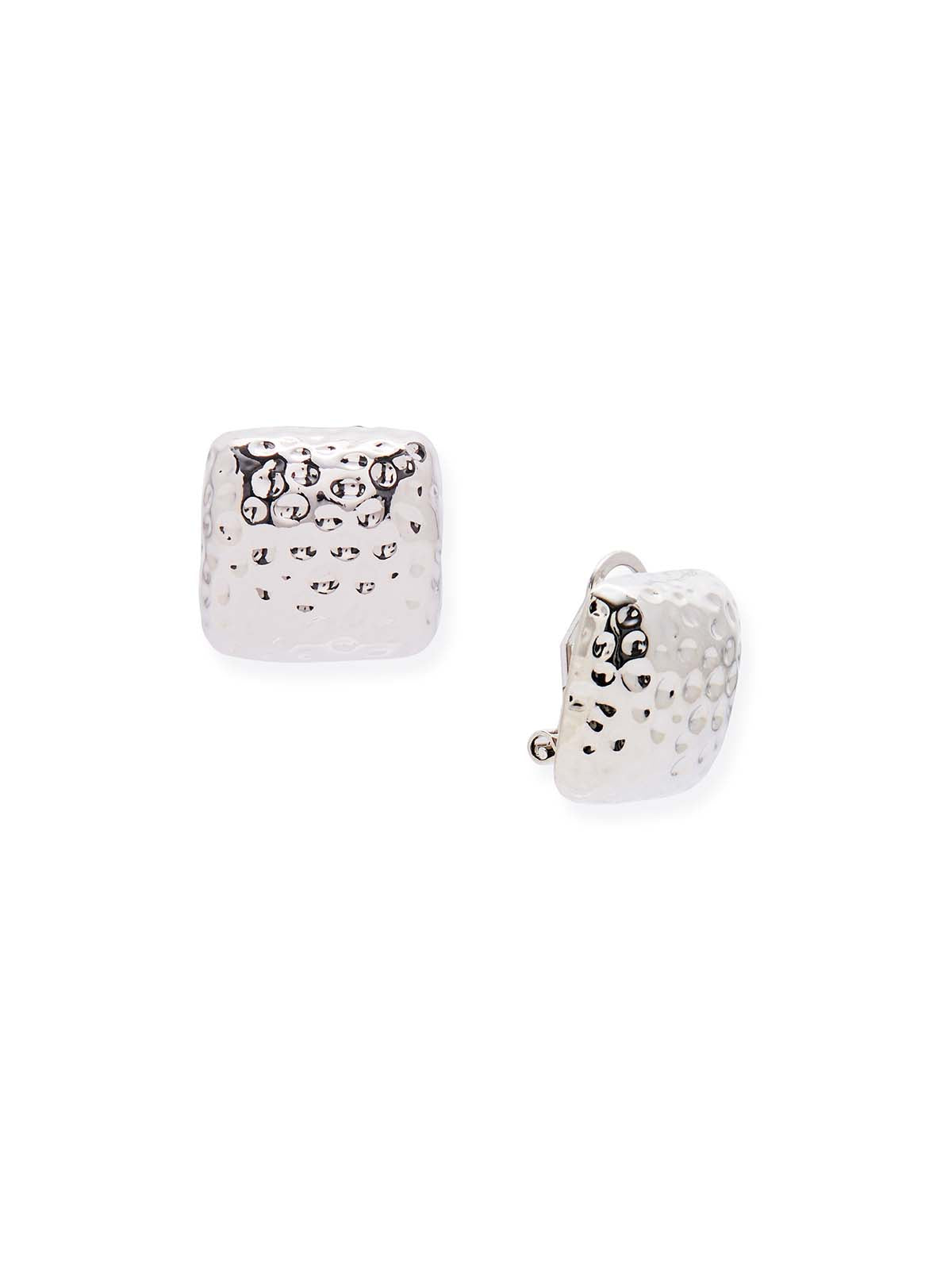 Silver Hammered Square Clip Earrings