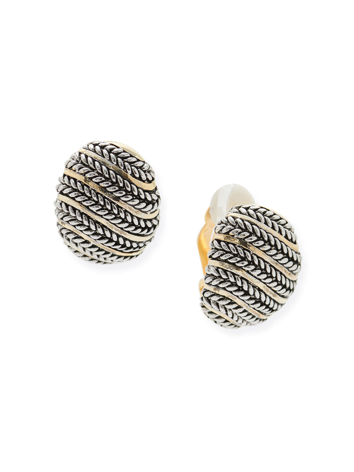 Braid and Swirl Clip Earrings