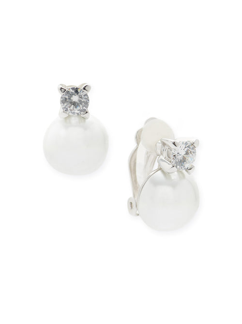 Pearl and Zirconia Clip Earrings