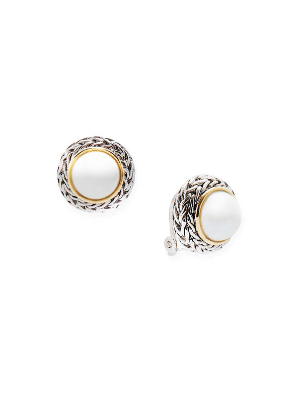 Pearl Stud Clip Earrings