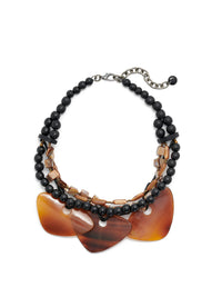 Black Bead and Horn Statement Necklace-Misook