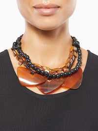 Black Bead and Horn Statement Necklace