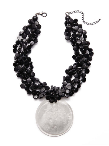 Beaded Mother-of-Pearl Disc Necklace