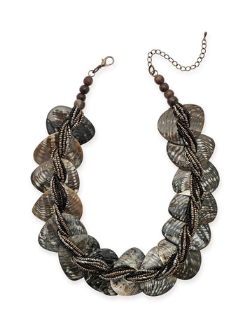 Marbled Shell Woven Bead Necklace
