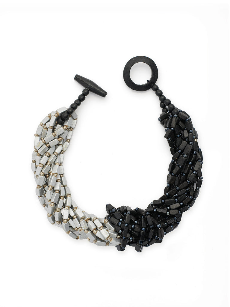 Black and Silver Wood Beaded Knot Necklace-Misook