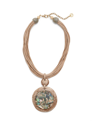 Abalone Disc Pendant Cord Necklace
