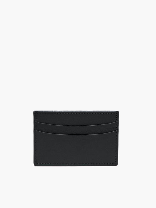Leather Slim Card Case in Color Black; Two Compartments