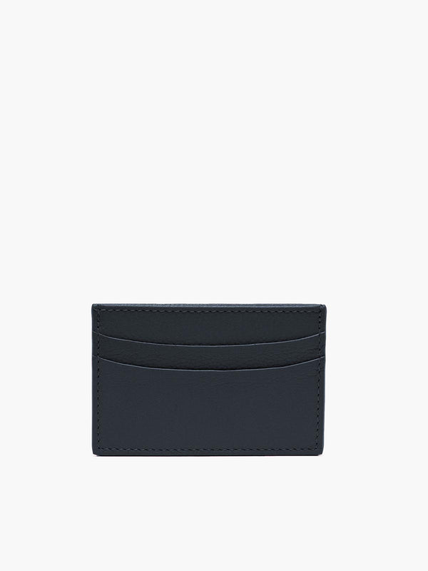 Leather Slim Card Case in Color Navy Blue; Two Compartments