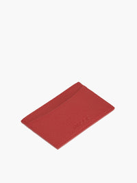 Leather Slim Card Case in Color Red; One Compartment with
