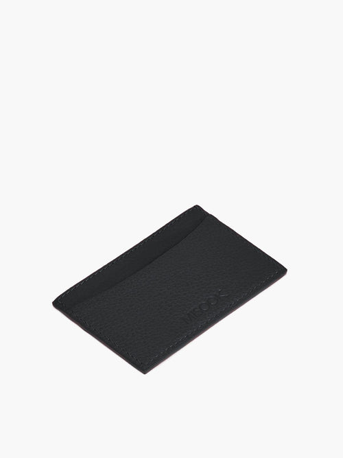 Leather Slim Card Case in Color Black; One Compartment with