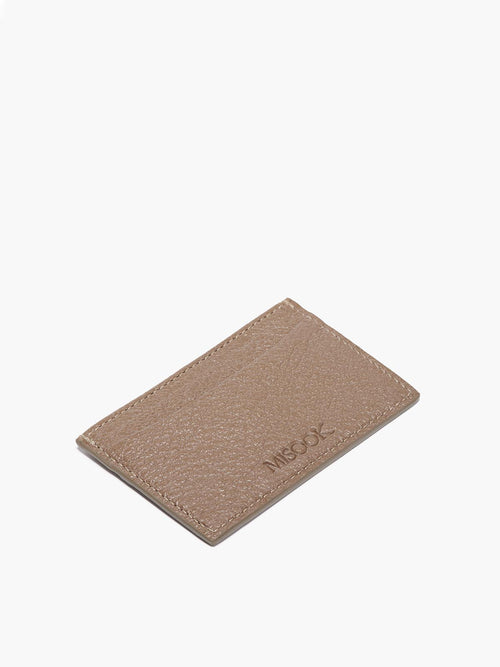 Leather Slim Card Case in Color Taupe; One Compartment with