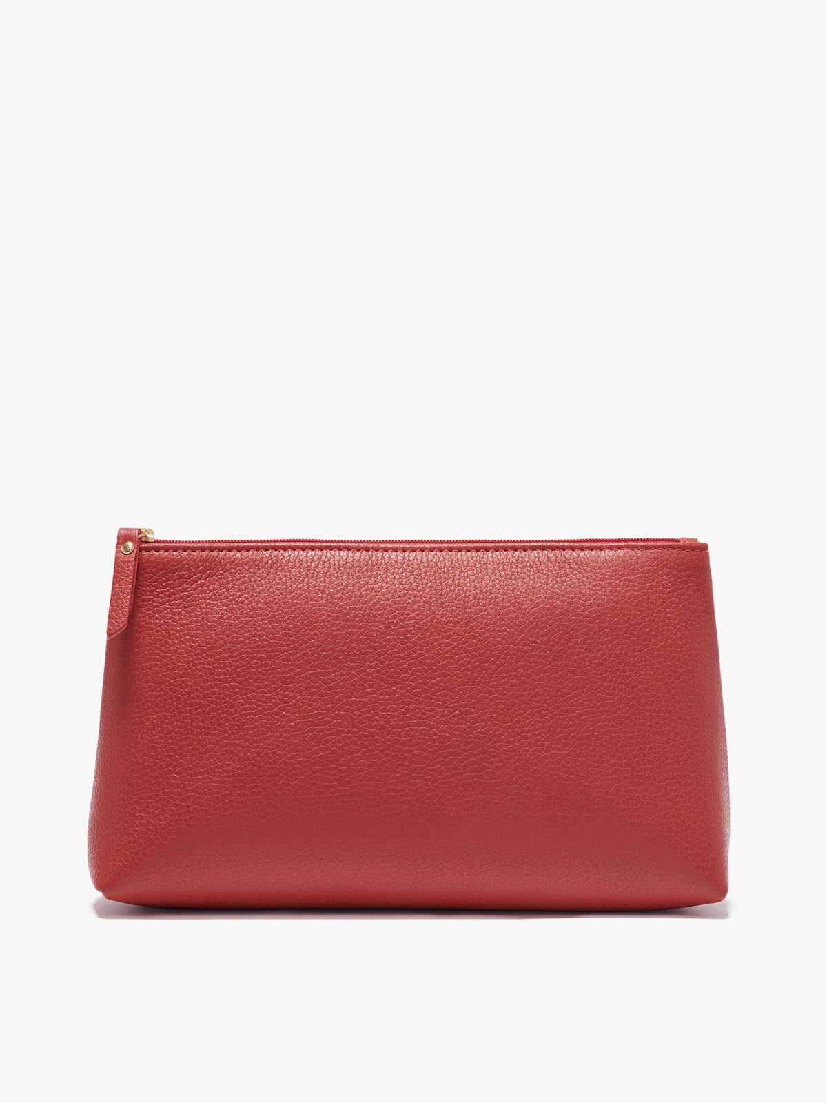Large Leather Pouch in Color Red with Gold Finishes