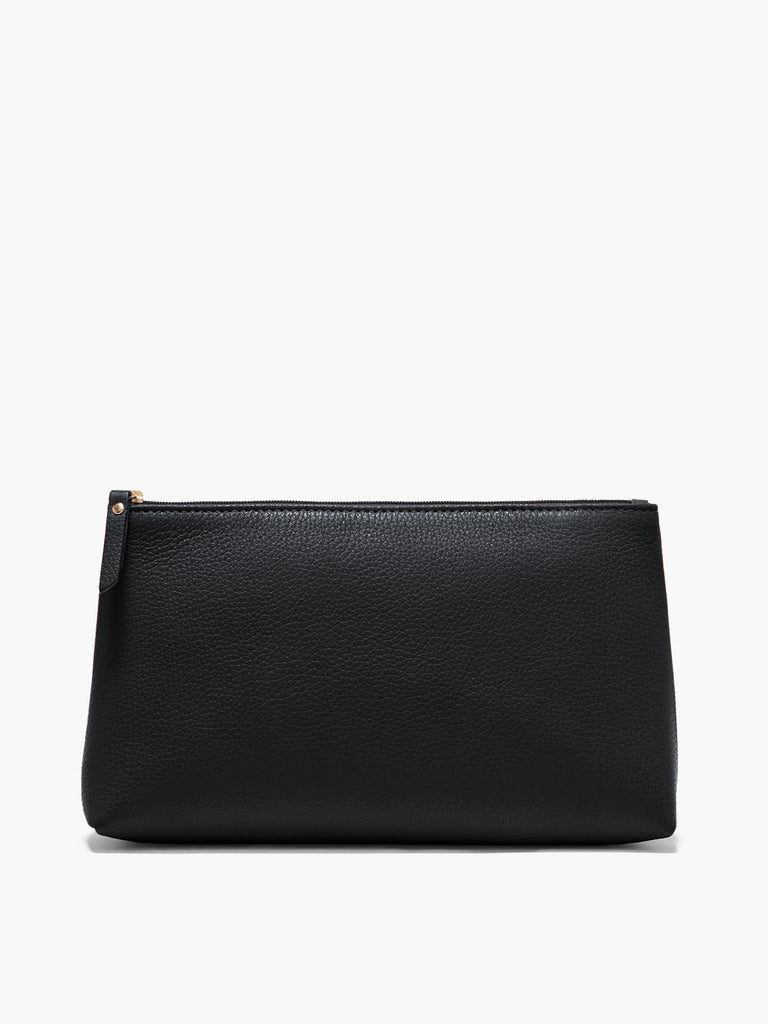 Large Leather Pouch in Color Black with Gold Finishes