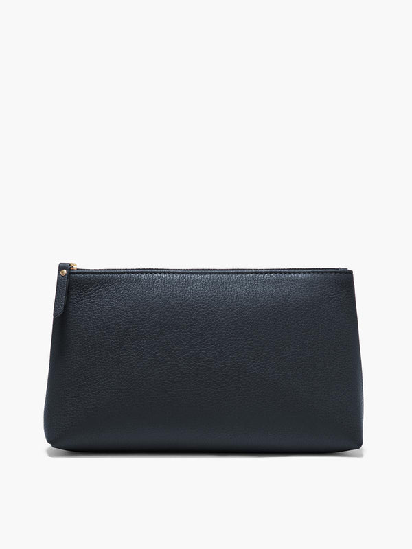 Large Leather Pouch in Color Navy Blue with Gold Finishes