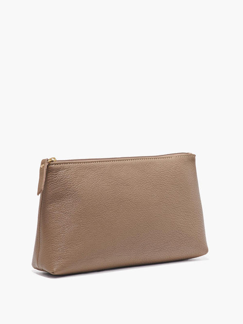 Large Leather Pouch in Color Taupe with Gold Finishes