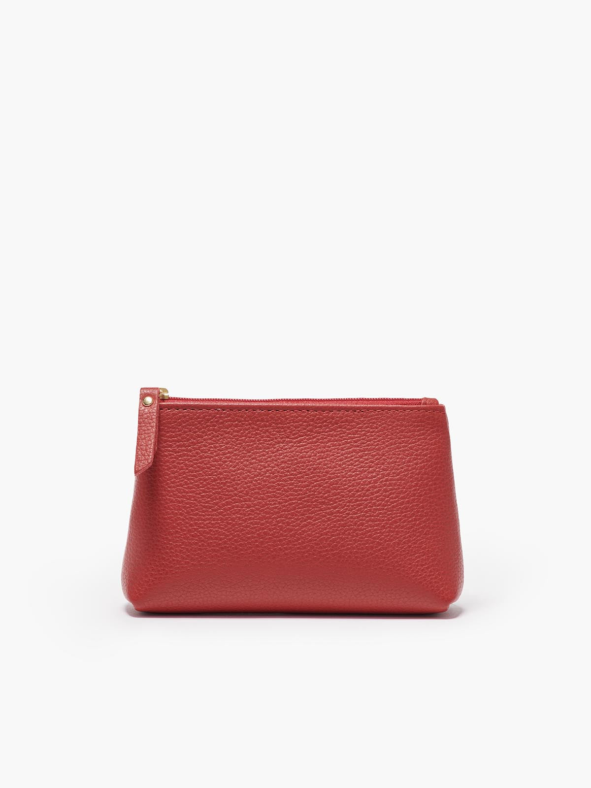 Small Leather Accessories Case in Color Red with a Zipper Closure and Gold Finishes