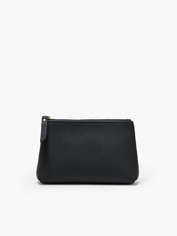 Small Leather Accessories Case in Color Black with a Zipper Closure and Gold Finishes