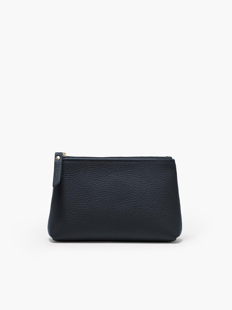 Small Leather Accessories Case in Color Navy Blue with a Zipper Closure and Gold Finishes