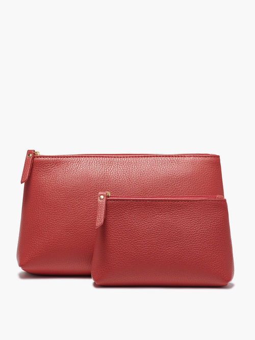 Small and Medium Leather Accessories Case in Color Red with a Zipper Closure and Gold Finishes