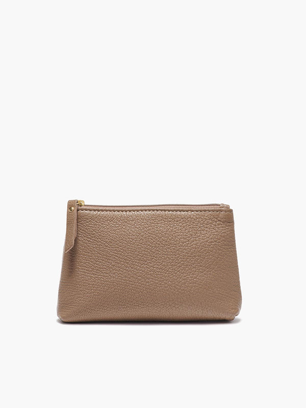 Small Leather Accessories Case in Color Taupe with a Zipper Closure and Gold Finishes