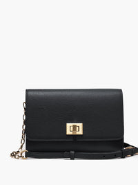 Meadow Crossbody Clutch with Turn Lock Closure, Adjustable Shoulder Strap, and Gold Finishes in Color Black