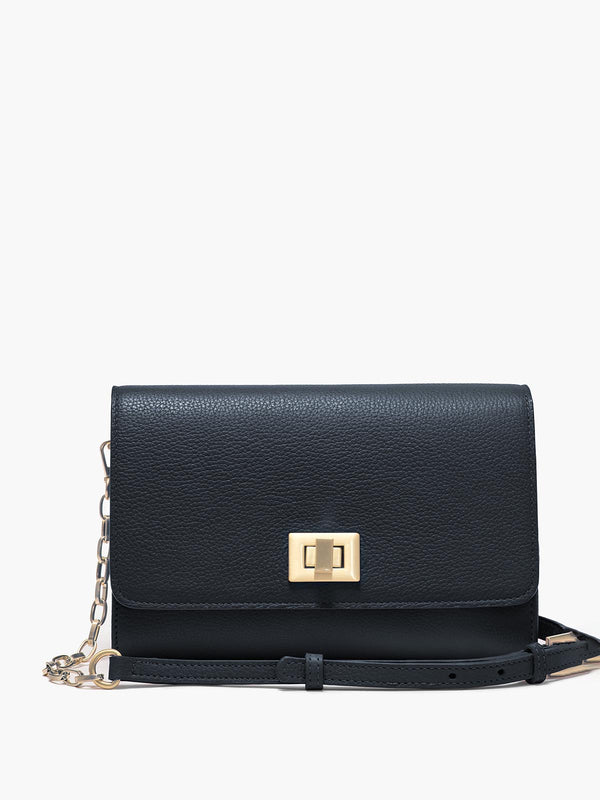 Meadow Crossbody Clutch with Turn Lock Closure, Adjustable Shoulder Strap, and Gold Finishes in Color Navy Blue