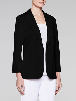Black Shawl Collar Fitted Jacket