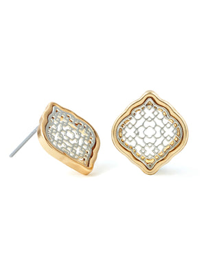 Filigree Button Earrings