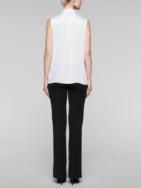Tie-Neck Crepe de Chine Blouse in Color White