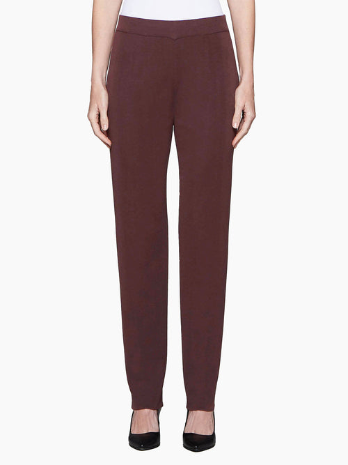 Straight Leg Knit Pant, Mahogany Color Mahogany