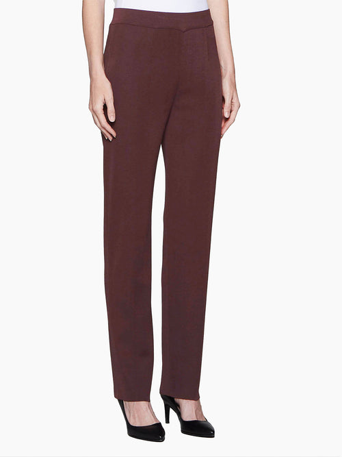 Straight Leg Knit Pant, Mahogany Color Mahogany Premium Detail