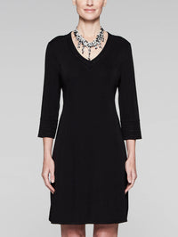3/4 Sleeve V-Neck Knit Sheath Dress, Black