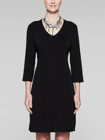 Plus Size 3/4 Sleeve V-Neck Knit Sheath Dress, Black