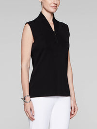 Plus Size Zip-Neck Knit Tank Top, Black