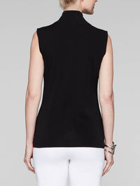 Zip-Neck Knit Tank Top, Black