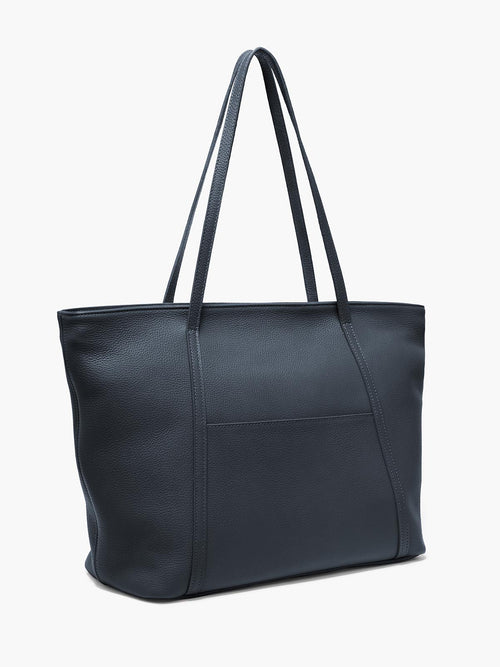Seneca Large Zippered Leather Tote in Color Navy Blue with Exterior Slip Pocket and Protective Metal Feet
