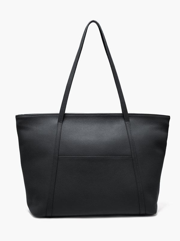 Seneca Large Zippered Leather Tote in Color Black with Exterior Slip Pocket and Protective Metal Feet