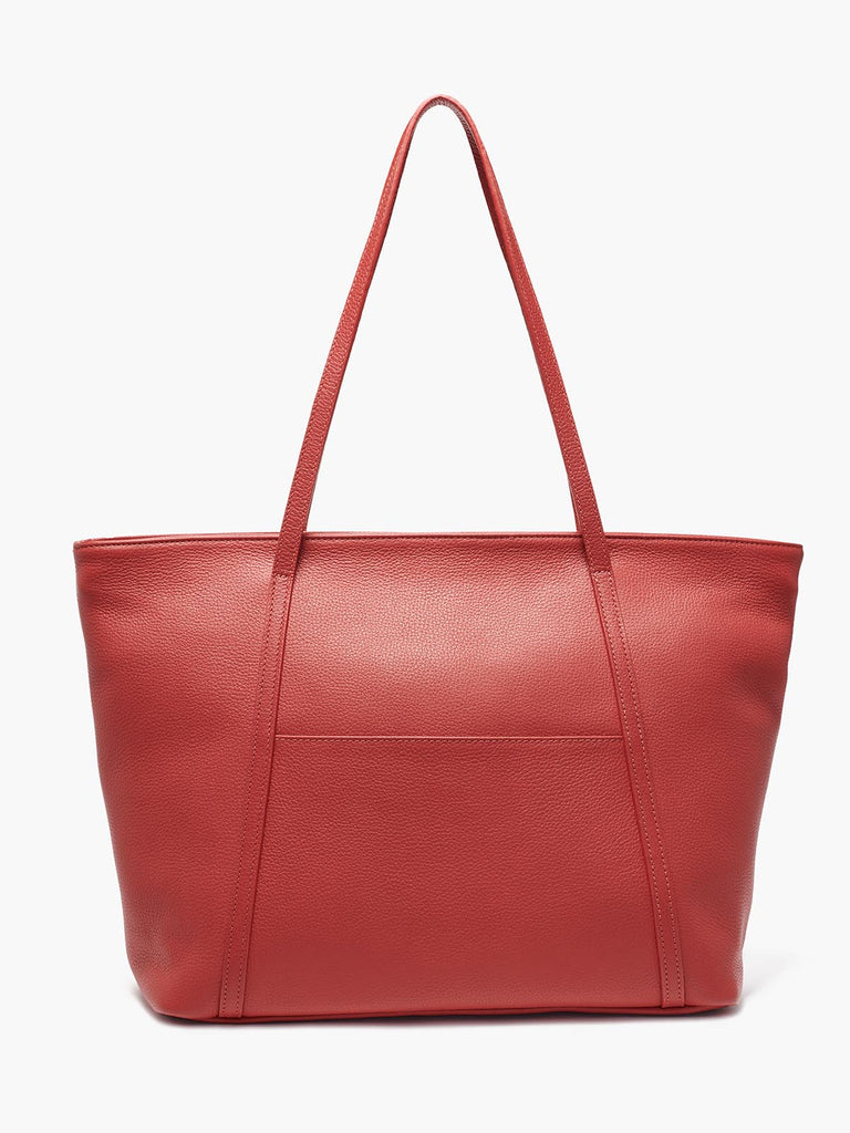 Seneca Large Zippered Leather Tote in Color Red with Exterior Slip Pocket and Protective Metal Feet