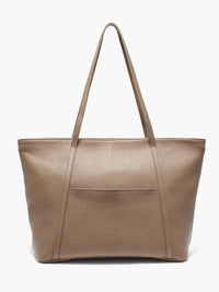 Seneca Large Zippered Leather Tote in Color Taupe with Exterior Slip Pocket and Protective Metal Feet