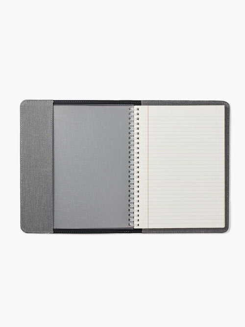 Open View of the Refillable Leather Spiral Notebook Cover in Color Black; Notebook Features Ivory Paper with Gold-Gilded Edges