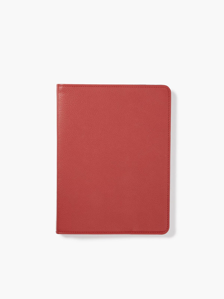Refillable Leather Spiral Notebook Cover in Color Red