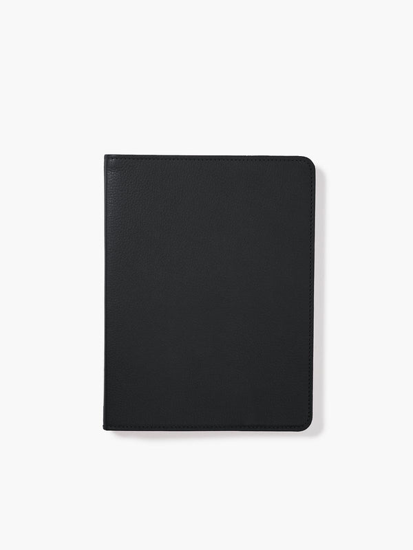 Refillable Leather Spiral Notebook Cover in Color Black