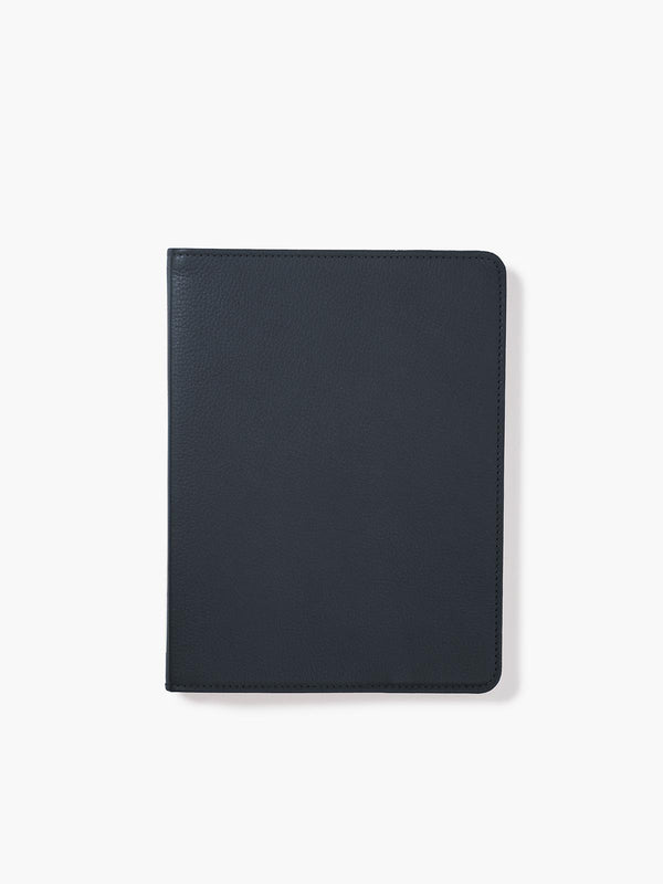 Refillable Leather Spiral Notebook Cover in Color Navy Blue