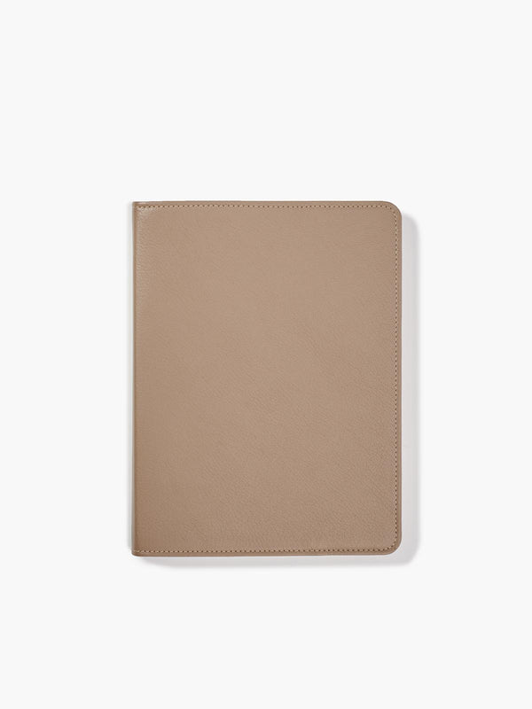 Refillable Leather Spiral Notebook Cover in Color Taupe