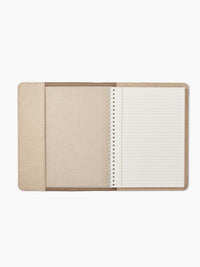Open View of the Refillable Leather Spiral Notebook Cover in Color Taupe; Notebook Features Ivory Paper with Gold-Gilded Edges