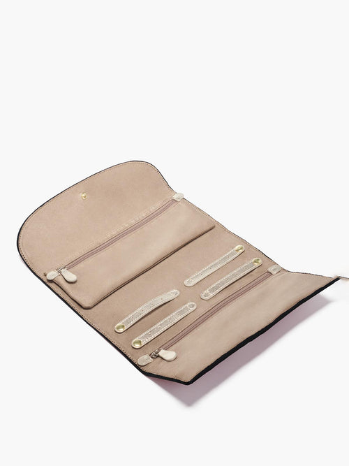 Jewelry Roll Travel Organizer in Color Black; Tan Microsuede Interior with Snap Tabs and a Two Zipper Pockets (One Removable)