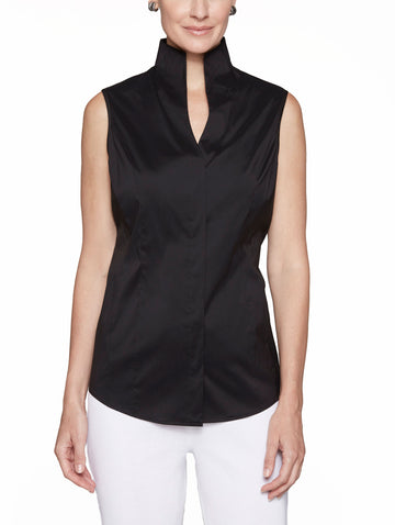 Sleeveless Stretch Cotton Blouse, Black